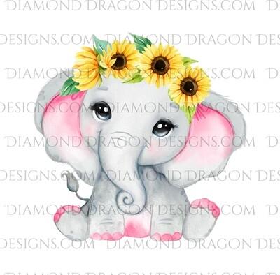 Animals - Cute Baby Elephant, Watercolor Sunflowers, Waterslide