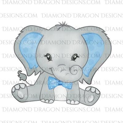 Animals - Cute Baby Elephant, Watercolor Bowtie, Waterslide