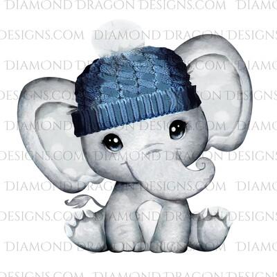 Animals - Cute Baby Elephant, Watercolor Beanie, Waterslide