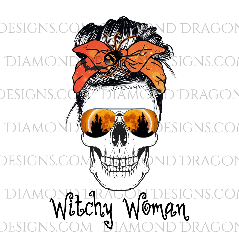 Skulls - Witchy Woman, Skull, Messy Bun, Sunglasses, Halloween, Mom Skull, Waterslide