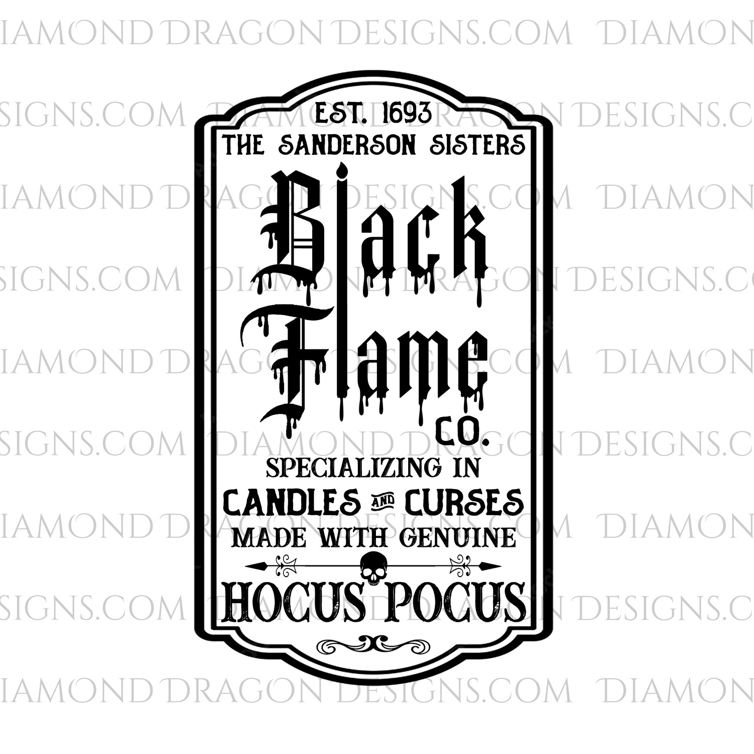 Halloween - Black Flame Candle Label for Tumblers, Image File, Instant Digital Image