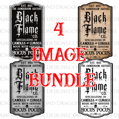 Halloween - All 4 Black Flame Candle Labels for Tumblers, Image File, Instant Digital Image