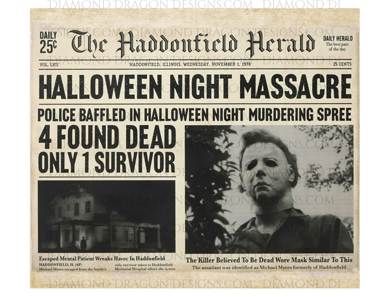 Halloween - Full Wrap Halloween News Paper, Myers, Image File, Instant Digital Image