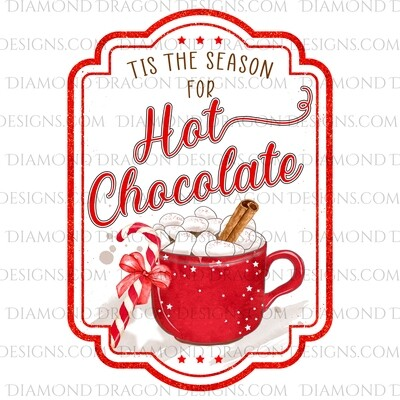 Christmas - Hot Chocolate, Hot Cocoa, Drink Label, Waterslide