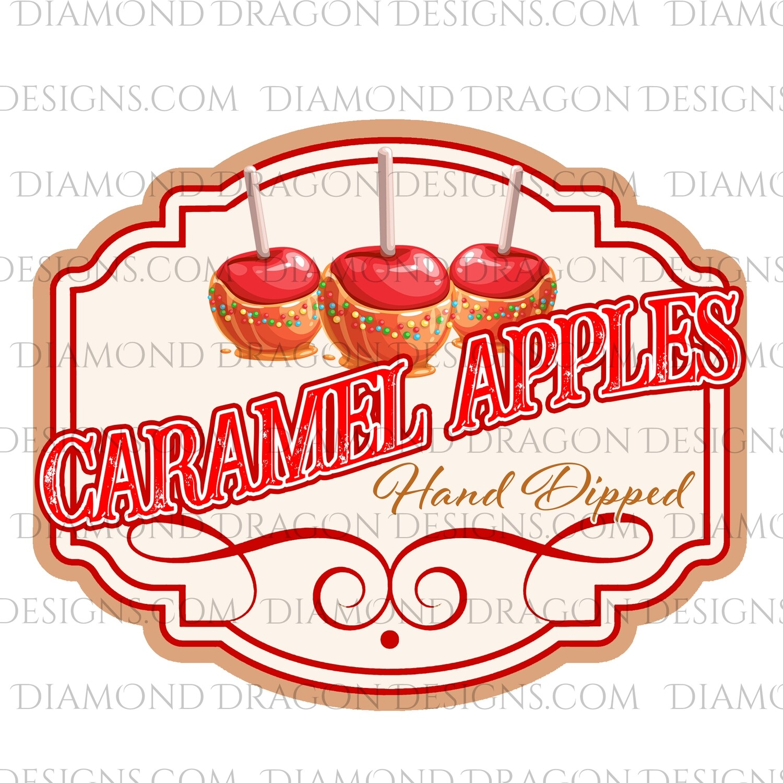 Christmas - Hand Dipped Caramel Apple Label, Digital Image