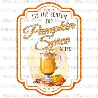 Fall - Pumpkin Spice Latte, Drink Label, Waterslide