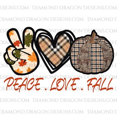 Fall - Peace Love Fall Plaid, Waterslide