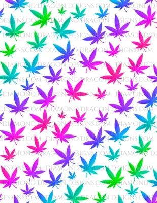 Full Page Design - Rainbow Weed Leaves, Pot Leaves, Digital Image