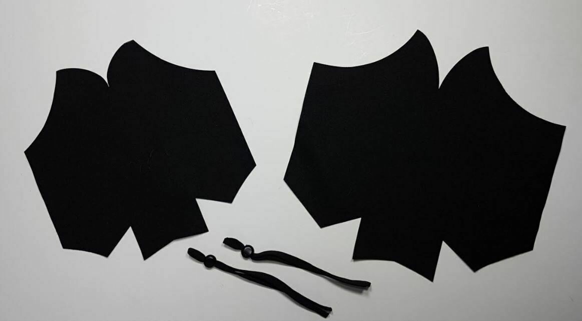 Small Face Mask Kit with Black lining, filter pocket & ear elastic (no nose wire)