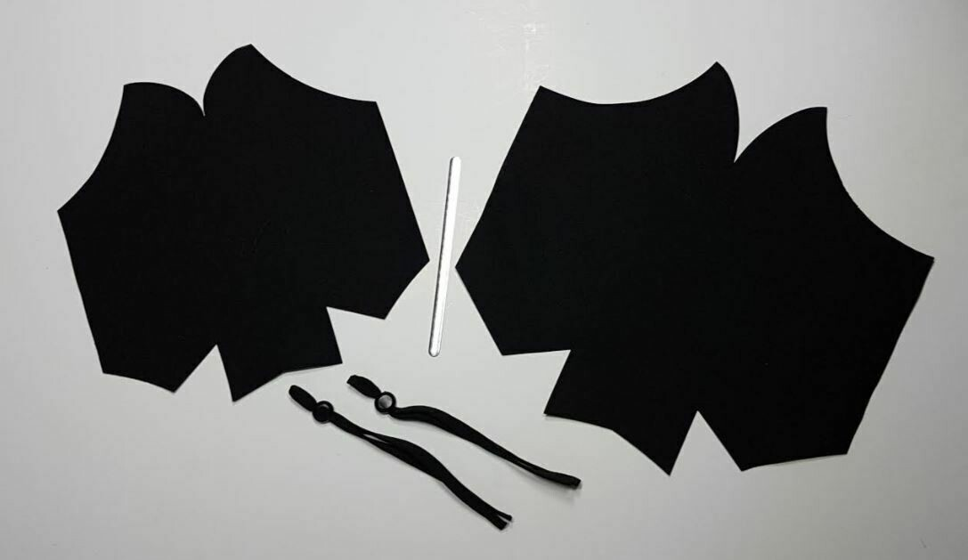 Medium Face Mask Kit with Black Lining, filter pocket, ear elastics & nose wire
