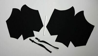 Large Face Mask Kit with Black lining, filter pocket, ear elastic & nose wire