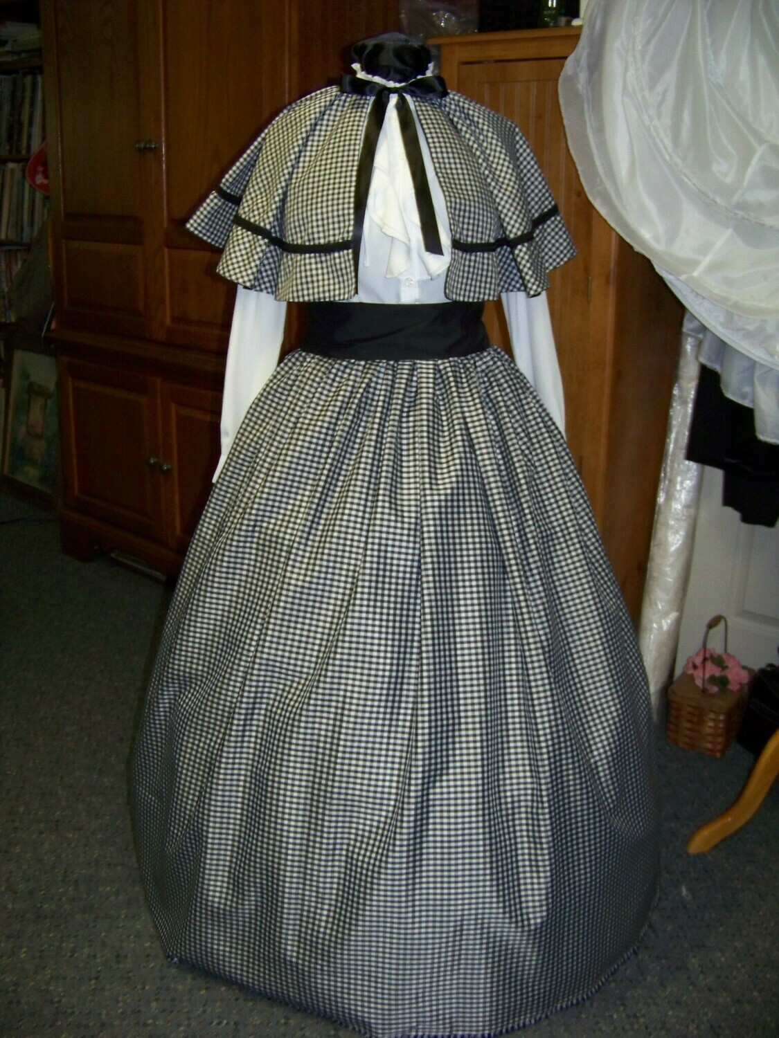 Golden Tan or khaki Dickens Civil War Ladies Long Skirt or Sash or Cape one size fit all Black and white plaid cotton homespun