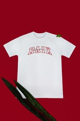 Camiseta branca RAIX resistência com detalhes em vermelho - RAIX