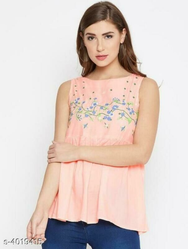 Stylish Rayon Embroidered Women's Tops