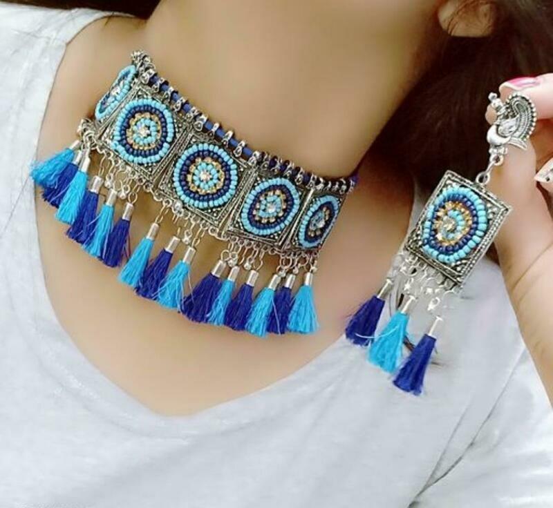 Beautiful Oxidized Silver Women's Jewellery Set
