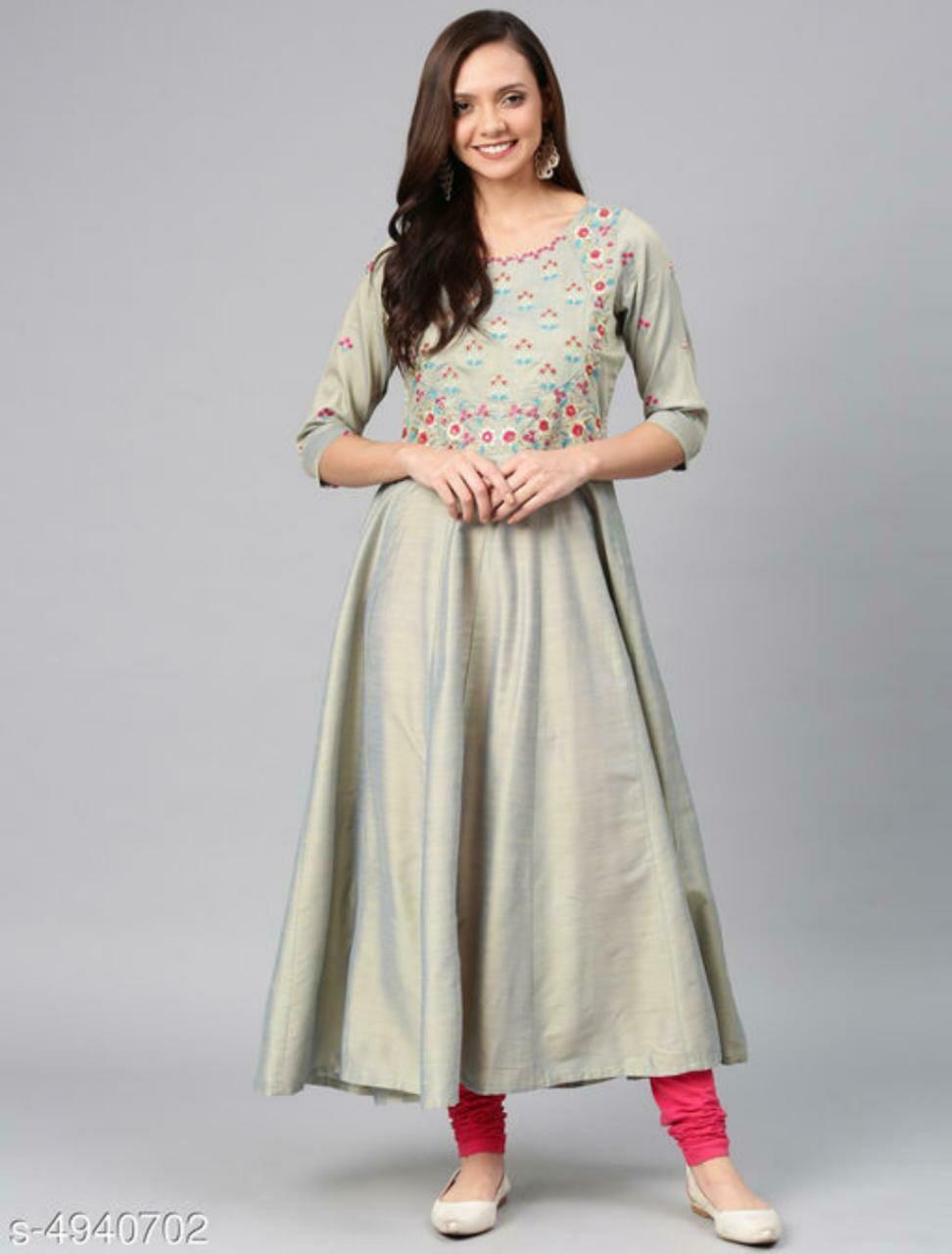 Women's Embroidered Chanderi Silk Kurtis