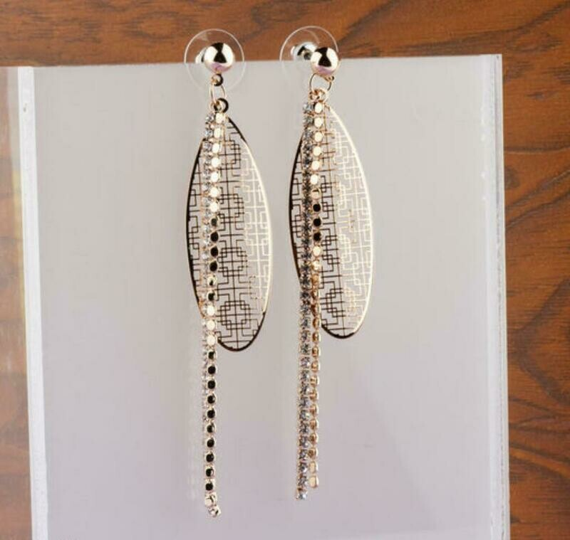 Gold Plated Cubic Zirconia Dangle Earring