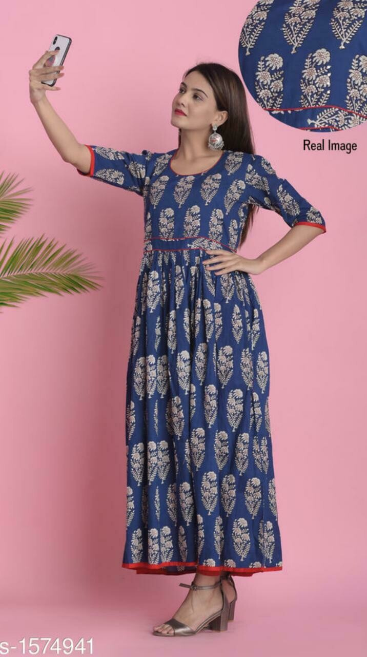 Women Floral Printed Cotton Ikkat Kurti