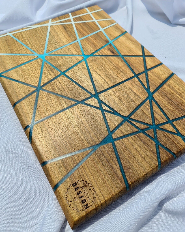 SERVING/CHEESE BOARD - AUSTRALIAN BLACKWOOD - BLUE & WHITE RESIN