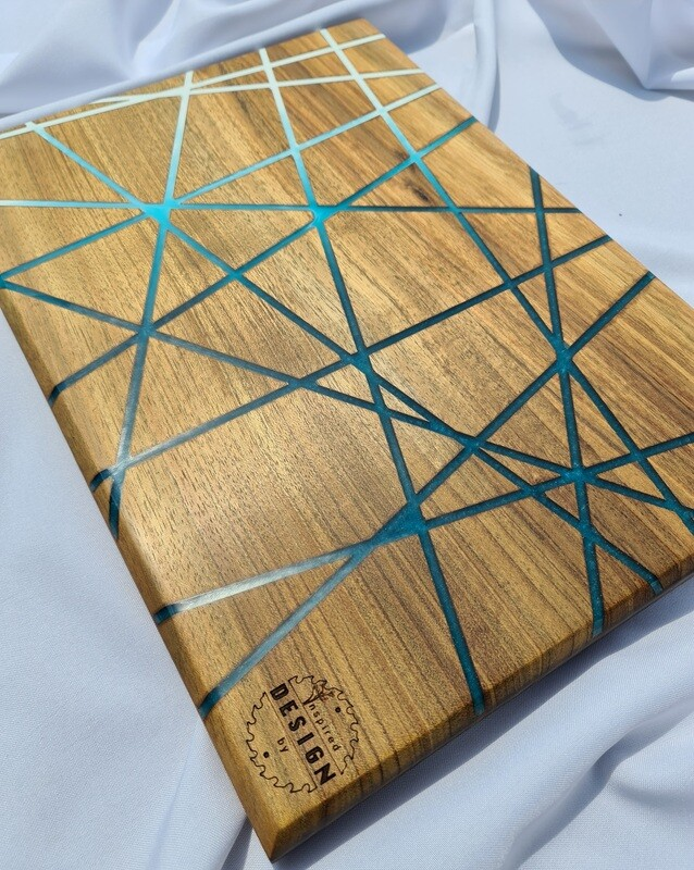 SERVING/CHEESE BOARD - AUSTRALIAN BLACKWOOD - BLUE & WHITE RESIN