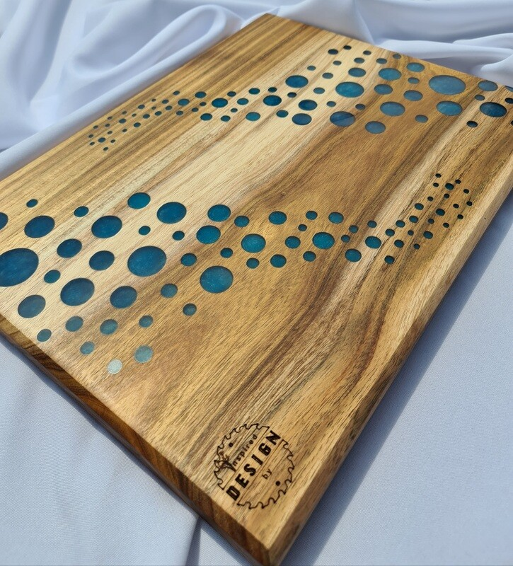 SERVING/CHEESE BOARD - AUSTRALIAN BLACKWOOD - BLUE RESIN (BUBBLES)