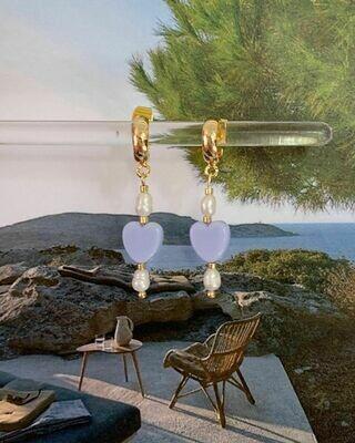 Oorbellen met acryl kralen en zoetwaterparels