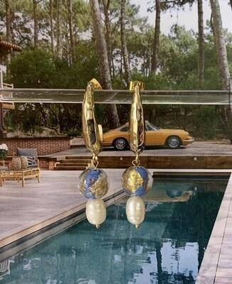 Open ringen met glaskralen en zoetwaterparels