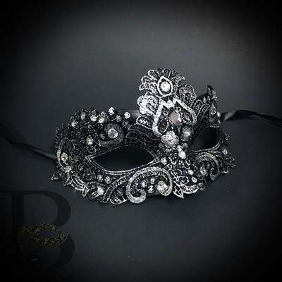 Lace Masquerade Mask   Silver / Chrome