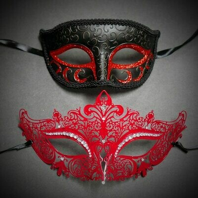 Couples Masquerade Mask Black / Red