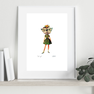 OWL GIRL Art Print A4