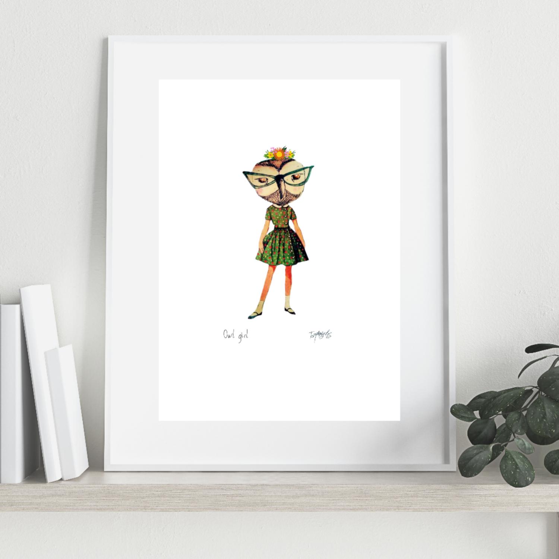 OWL GIRL Art Print A4