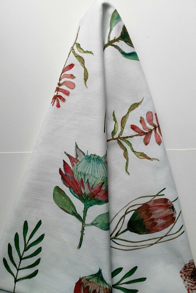 8 Seater Table cloth - PROTEA on WHITE