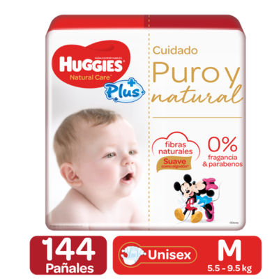 Huggies Pure and Natural Care Plus Diapers 144 Units / Size M