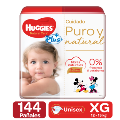 Huggies Natural Care Plus Diapers 144 Units / Size XG