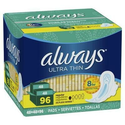 Always Ultra Thin Regular Pads with Wings 96 pk