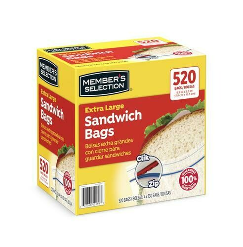 Member's Selection Extra Large Sandwich Bags 520 Bags