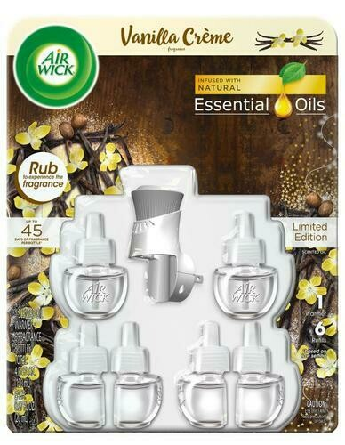 Air Wick Vanilla Creme 1 Warmer + 6 Refills