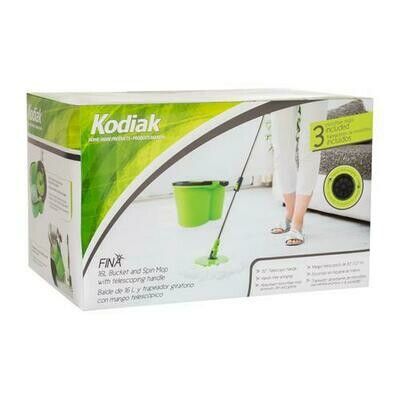 Kodiak 16 Liter Bucket, Handle + 3 Microfiber Spin Mop Heads