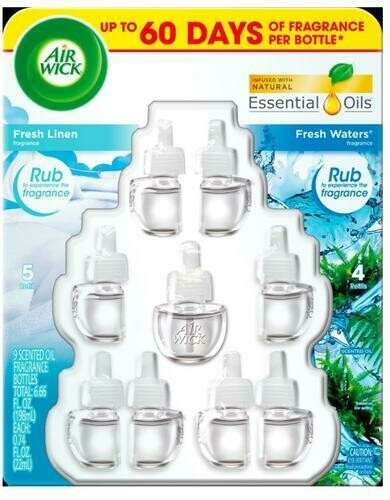 Air Wick Oil Refills Fresh Linen & Fresh Waters 9pk/0.74 oz