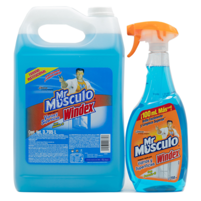 Mr. Musculo Windex Glass Cleaner 3.78 lt+750 ml