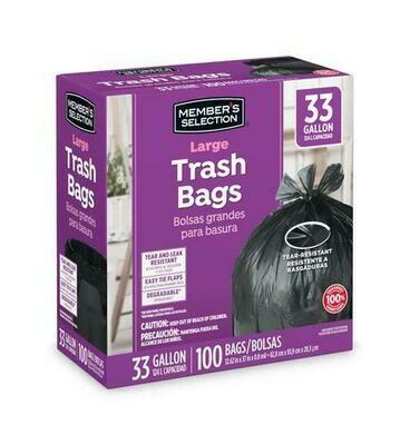 Member's Selection Large Trash Bags 33 Gallon/100 ct