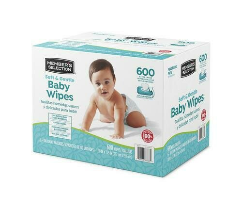 Member's Selection Soft & Gentle Baby Wipes 600 Wipes