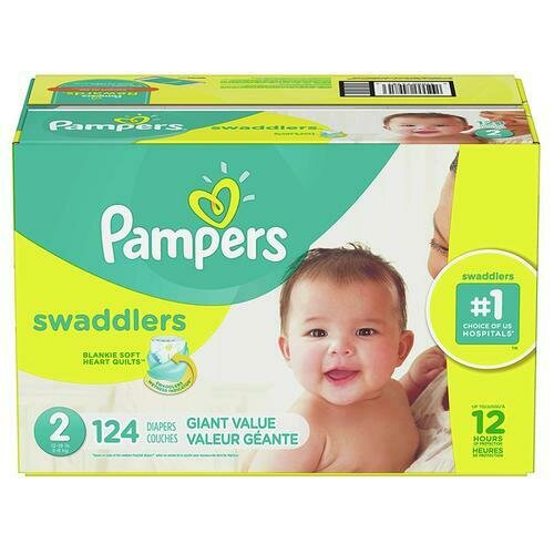 Pampers Swaddlers Diapers Size 2 with 124 Units
