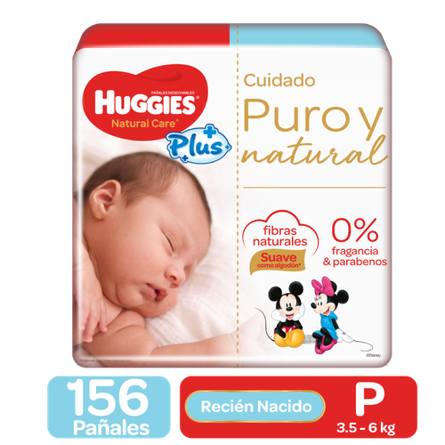 Huggies Pure and Natural Care Plus Diapers 156 Units / Size P