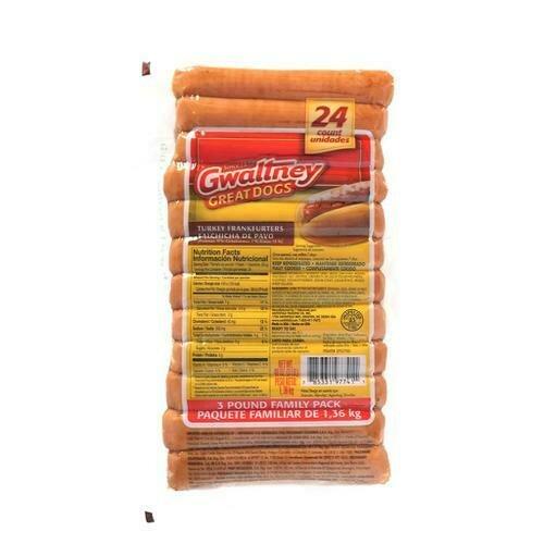 Gwaltney Turkey Hot Dogs 1.36 kg / 3 lb