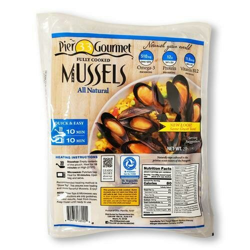 Pier 33 Gourmet Frozen Cooked Whole Mussels, 908 g / 2 lb
