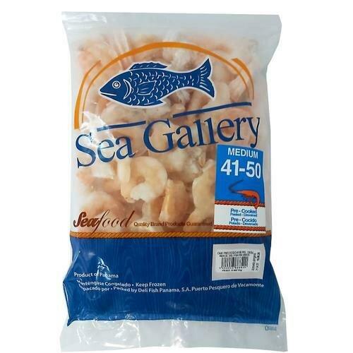 Sea Gallery Frozen Precooked Shrimp, Bag, Size  41-50 / 908 g. / 2 Lb.