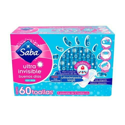 Saba Ultra Invisible Pads with Wings60 Units