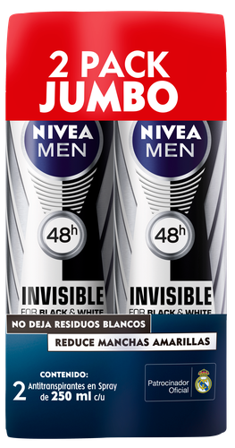 Nivea B&W Men Spray Deoderant 2 Units/250 ml