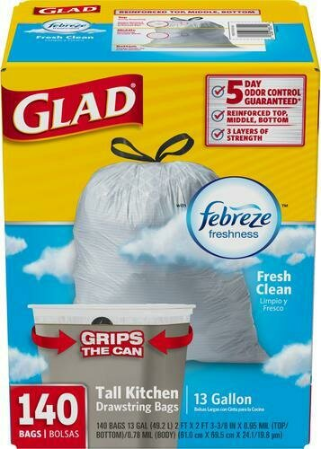 Glad 13 Gallon Tall Kitchen Bags 140 pack